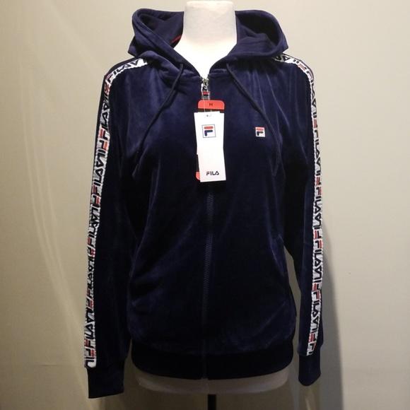Fila Jackets & Blazers - Fila Velour Track Jacket With Logo Sleeve Taping